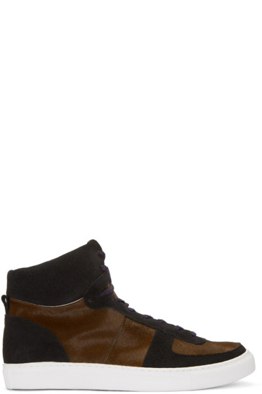 Kolor - Brown Calf-Hair High-Top Sneakers