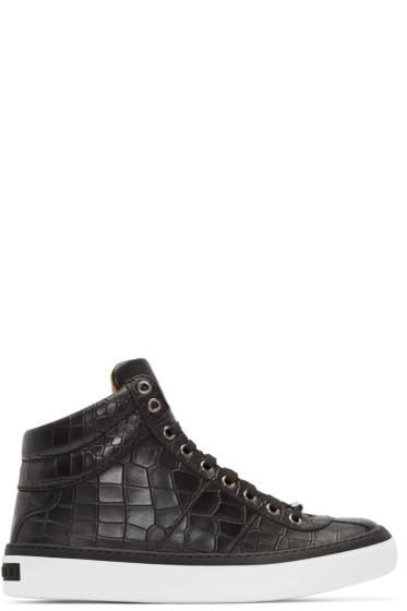 Jimmy Choo - Black Croc-Embossed Belgravia High-Top Sneakers