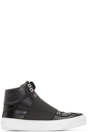 Jimmy Choo - Black Leather Archie High-Top Sneakers