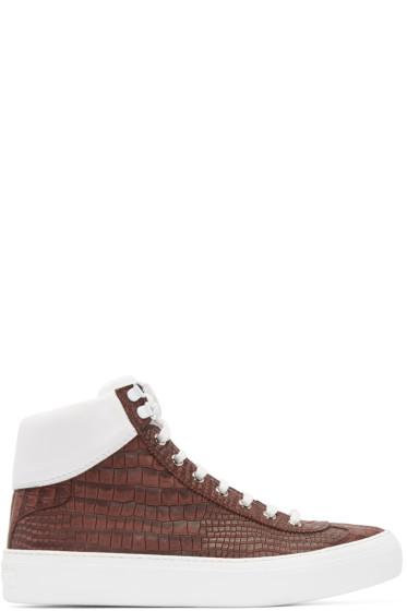 Jimmy Choo - Red Croc-Embossed Argyle High-Top Sneakers