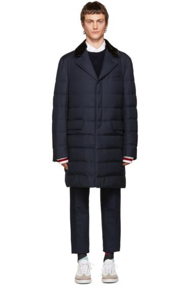 Moncler Gamme Bleu - Blue Fur-Trimmed Down Jacket