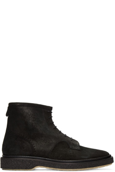 Adieu - Black Waxed Suede Type 22 Boots