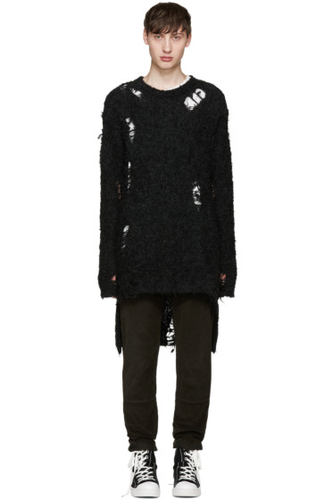 Miharayasuhiro - Black Alpaca Distressed Sweater