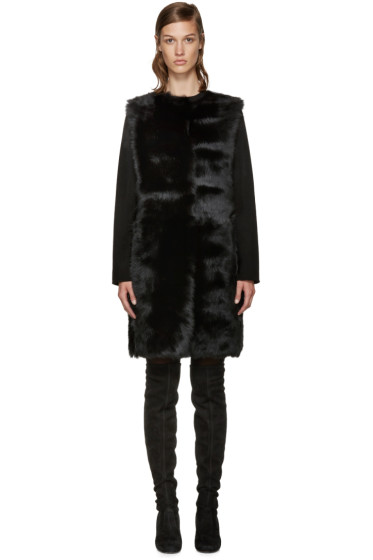 Yves Salomon - Reversible Black Shearling Coat