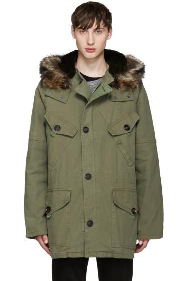 Yves Salomon -  Green Fur-Lined Military Coat