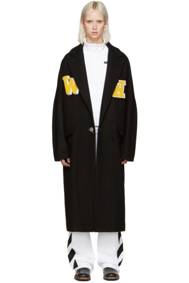 Off-White - Black Embroidered Coat