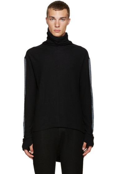 Nude:mm - Black Contrast Sleeve Turtleneck