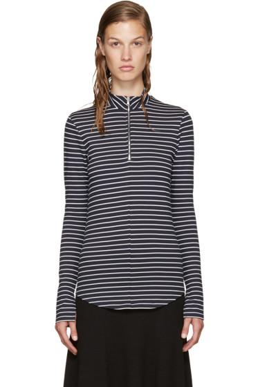 Nomia - Navy Zip Mock Neck T-Shirt