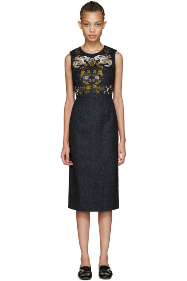 Erdem - Blue Plaid Elvia Dress
