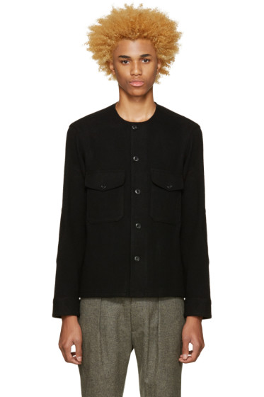 Lemaire - Black Collarless Wool Shirt