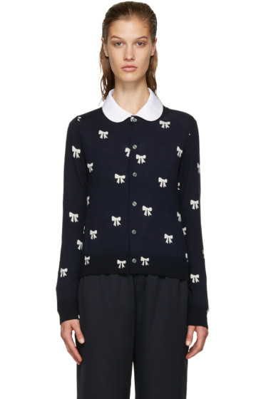 Comme des Garçons Girl - Navy & White Bows Cardigan