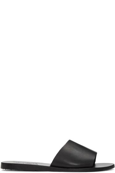 Ancient Greek Sandals - Black Leather Taygete Sandals