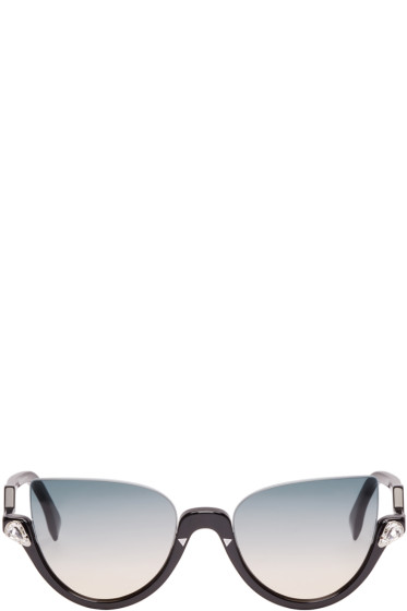 Fendi - Black Crystal Half Cat-Eye Sunglasses