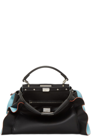 Fendi - Black & Blue Mini Peekaboo Bag