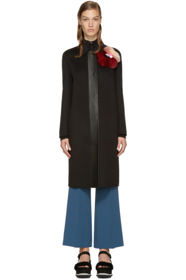 Fendi - Black Wool Fur Patch Coat
