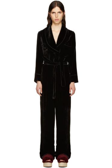 Fendi - Black Velvet Tuxedo Jumpsuit