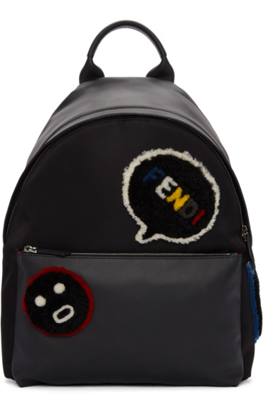 Fendi - Black Shearling Patches Backpack