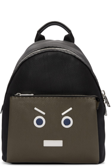 Fendi - Black & Green New Monster Backpack