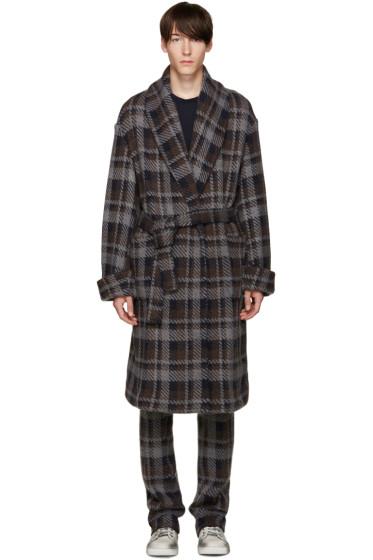 Fendi - Grey Check Belted Runway Coat