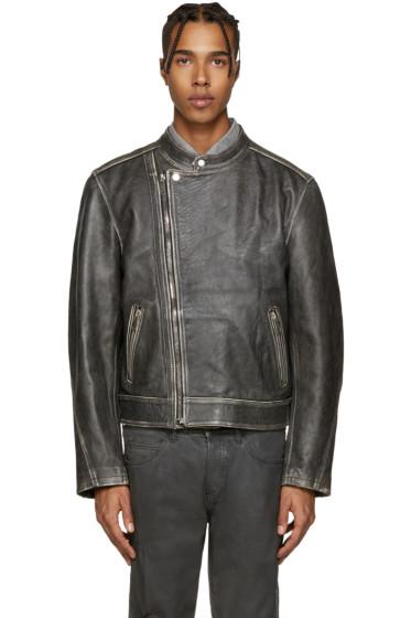 Palm Angels - Black Leather Quote Biker Jacket