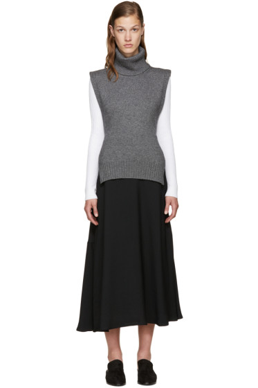Rosetta Getty - Charcoal Wool Turtleneck Poncho