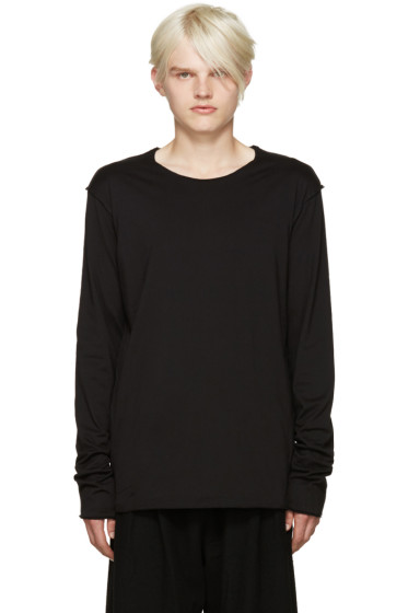 Attachment - Black Raw Edge Layered T-Shirt