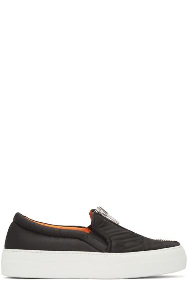Joshua Sanders - Black Bomber Slip-On Sneakers