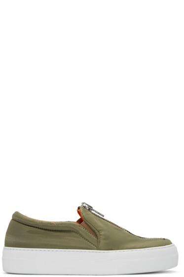 Joshua Sanders - Green Bomber Slip-On Sneakers