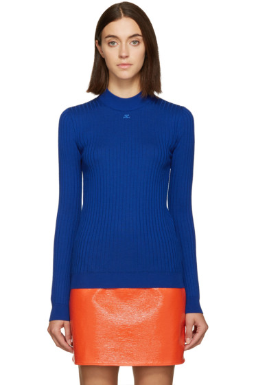 Courrèges - Blue Classic Ribbed Pullover