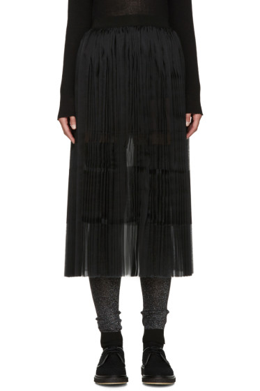 Sara Lanzi - Black Pleated Silk Skirt