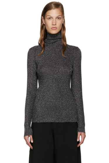Sara Lanzi - Silver & Black Lurex Turtleneck