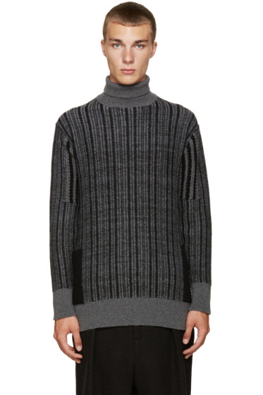 Curieux - Grey Cashmere Pocket Turtleneck