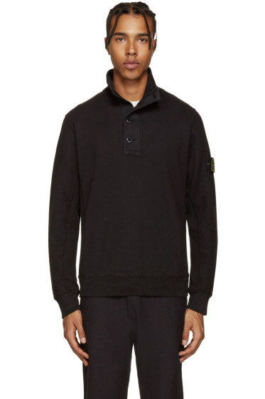 Stone Island - Black Button-Up Pullover