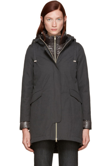 Herno - Grey Down Brushed Cotton Coat