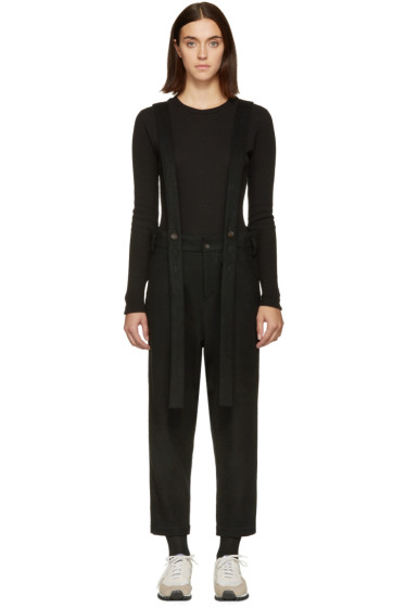 Nocturne #22 - Black Wool Suspender Overalls