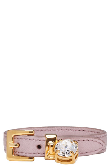 Miu Miu - Pink Leather Crystal Belt Bracelet