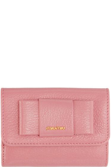 Miu Miu - Pink Compact Bow Wallet