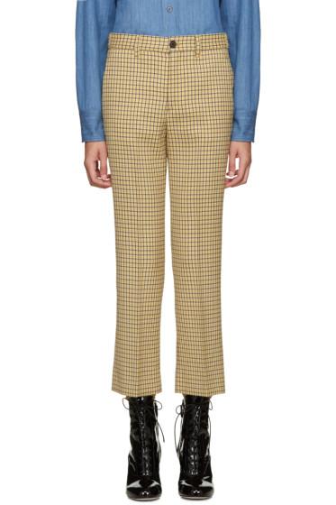 Miu Miu - Yellow Check Flared Trousers