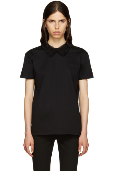 Miu Miu - Black Lace Collar T-Shirt