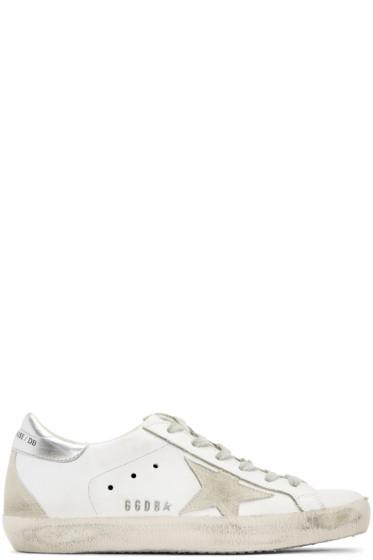 Golden Goose - White & Silver Superstar Sneakers