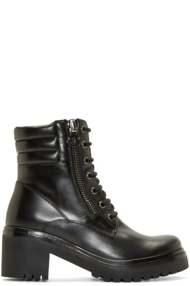 Moncler - Black Leather Viviane Combat Boots