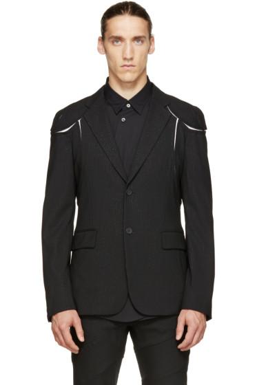 Comme des Garçons Homme Plus - Black Pinstriped Cut-Out Blazer
