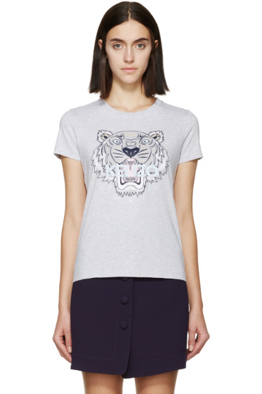 Kenzo - SSENSE Exclusive Grey Tiger Logo T-Shirt