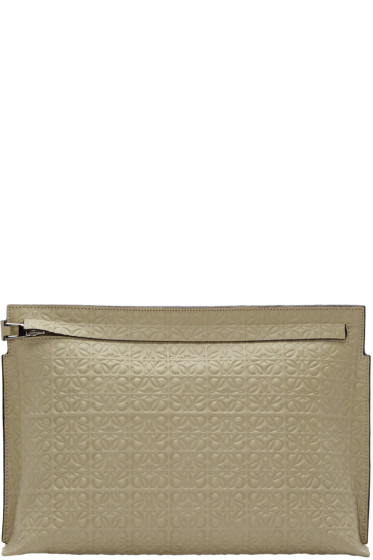 Loewe - Khaki Leather Embossed Large Pouch