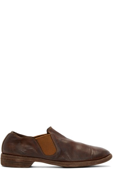 Guidi - Brown Leather Distressed Loafers
