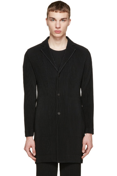 Homme Plissé Issey Miyake - Black Pleated Long Blazer