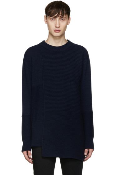 Diesel Black Gold - Navy Asymmetric Collage Sweater