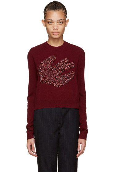 McQ Alexander Mcqueen - Burgundy Fringed Swallow Pullover
