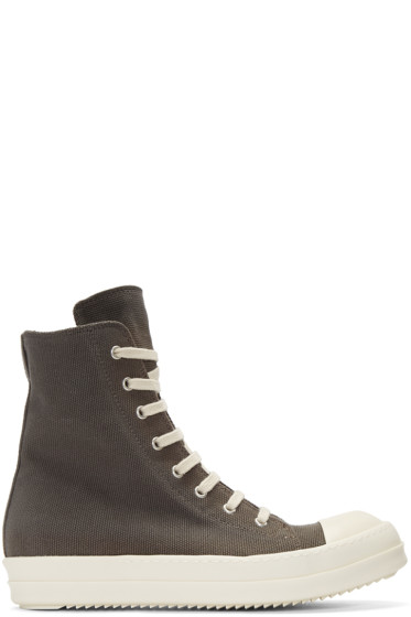 Rick Owens Drkshdw - Grey Canvas High-Top Sneakers
