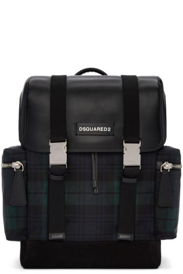 Dsquared2 - Green Tartan Nylon Backpack